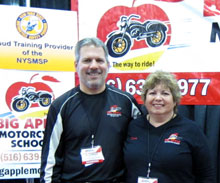 Big Apple M/C School Vice President George Tranos and President Diane Ortiz at the International Motorcycle Show